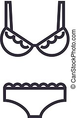 lingerie, bra and pantie vector line icon, sign, illustration on background, editable strokes