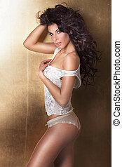 lingerie., brunette, sensueel, vrouw, het poseren