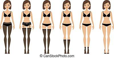 lingerie, différent, types, femmes