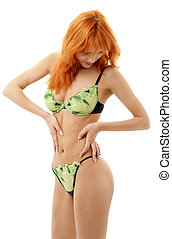 lingerie girl #3 - Sporty lady in green underwear
