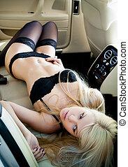 lingerie, in, een, luxeauto