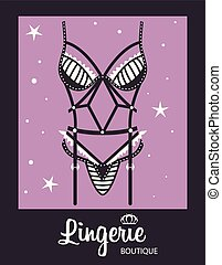 Lingerie luxury style vector tag background. Stylish design...