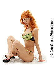lingerie - lovely redhead in in green and black underwear