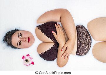 lingerie, sensuelles, femme, rouges