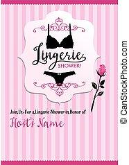 Lingerie shower invitation card