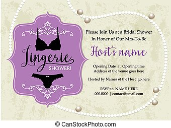 Lingerie shower invitation card with pearl necklace and grunge background
