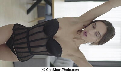lingerie., vertical, girl, sexy, video., motion., lent