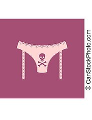 Lingerie with cross bones icon simple style.