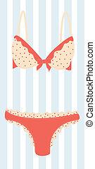 Lingerie - woman's cute pink lingerie. Colorful vector...