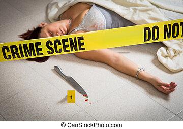 lingery, mulher, cena, morto, crime