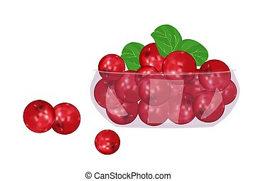 Lingonberry in glass bowl isolated on white background. - ...