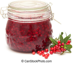 lingonberry preserve isolated on white background