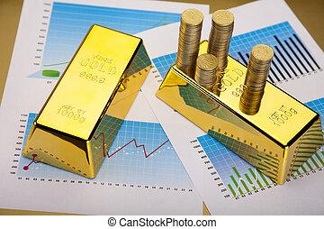 lingote, gráfico, oro