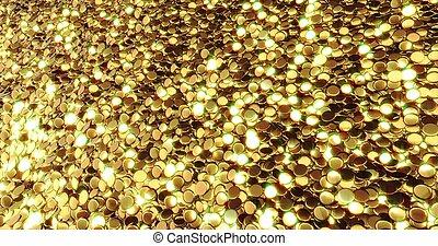 lingotti, di, puro, gold., dorato, fondo., foglia oro, texture., 3d, interpretazione