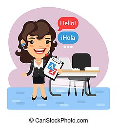 lingua, cartone animato, translator, donna d'affari