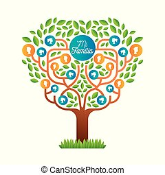 lingua, famiglia, albero grande, sagoma, spagnolo