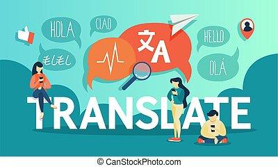 lingua, mobile, straniero, translator, telefono., linea, tradurre