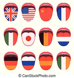 lingua, multilingue, bandiera, umano, parlare, lingua