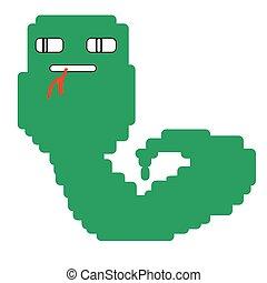 lingua, serpente verde, disegno
