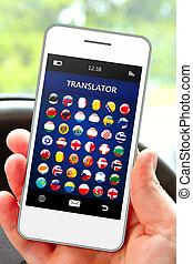 lingua, telefono, mobile, mano, translator, domanda, presa a...