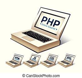 linguagem programação, conceito, -, php, css, xml, html, javascript, aprendizagem, -, livro, como, laptop