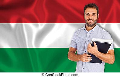 linguagens, bandeira, estudante masculino, húngaro