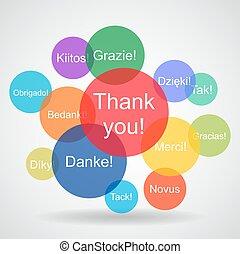 linguagens, diferente, mensagens, obrigado