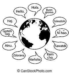 linguagens, dizer, terra, mundo, traduzir, olá