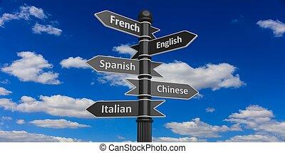 linguagens, fazendo, 3d, sinais estrada