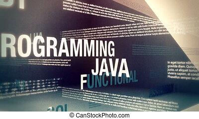 linguagens, programação, relatado, palavras