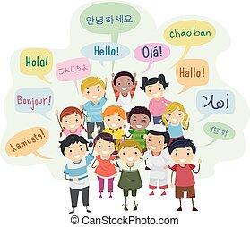 linguagens, stickman, crianças, fala, ilustração, bolha