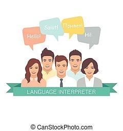 lingue, interpreter, differente, discorso, bolle