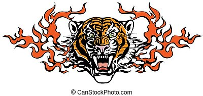 lingue, tiger, arrabbiato, testa, fiamma