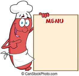 linguiça, cozinheiro, mostrando, menu