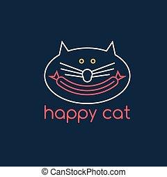 linguiça, gato, vetorial, desenho, modelo, feliz