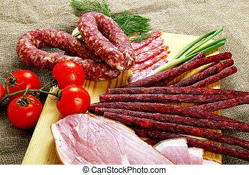 linguiça, produtos, carne