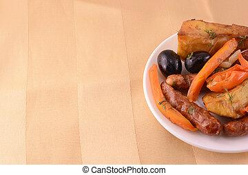 linguiça, salada, madeira, fundo, grelhados, fresco