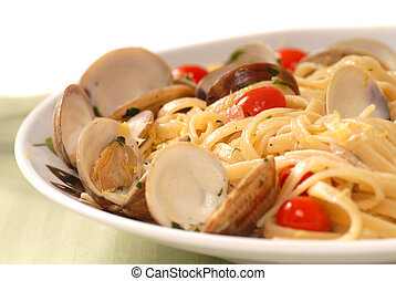 Linguine and clam sauce known as Linguine Vongole