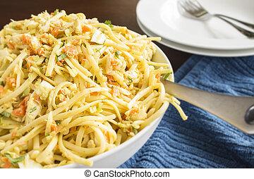 Linguine Crab Salad - Pasta salad with lump crab,...