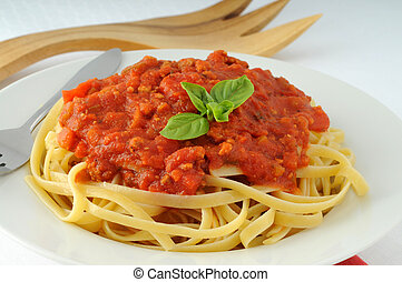 Linguine pasta with a tasty tomato basil sauce.