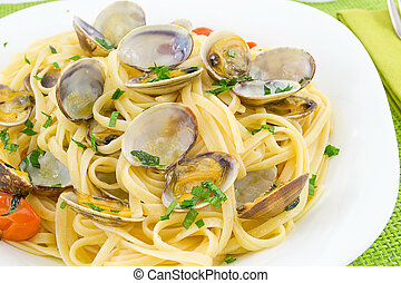 linguine with clams  - first course of fish