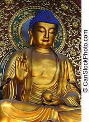 Lingyin temple, Hangzhou, China - Famous giant seated Buddha...