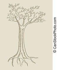 linha árvore, arte, ilustração