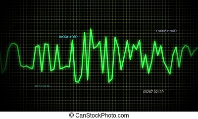linha, áudio, verde, onda