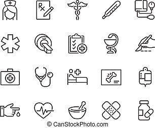 linha, ícones médicos