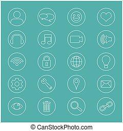 linha, ícones, para, business., ícones escritório, jogo