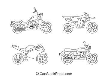 linha, ícones, set., motocicleta