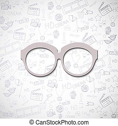 linha, óculos, desenho, fundo, bege