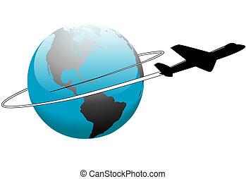 linha aérea, viagem, ao redor mundo, terra, avião