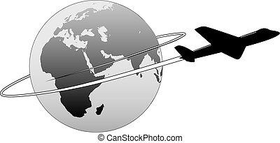 linha aérea, viagem, ao redor mundo, terra, leste, avião